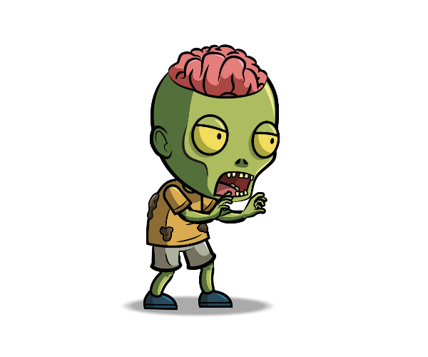Brain Exposed Zombie Royalty Free Game Art