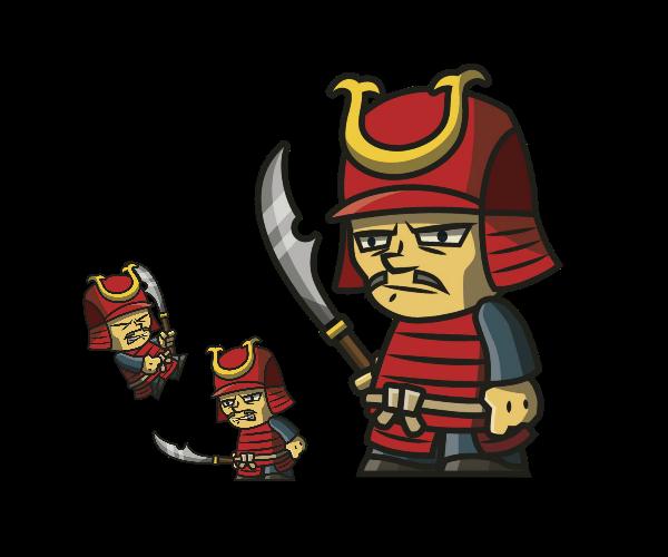 Tiny Armored Samurai royalty free game art