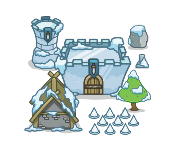 top down snowy themed tower defense art