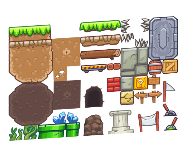 Seamless Hill Platformer Tileset Featured Image
