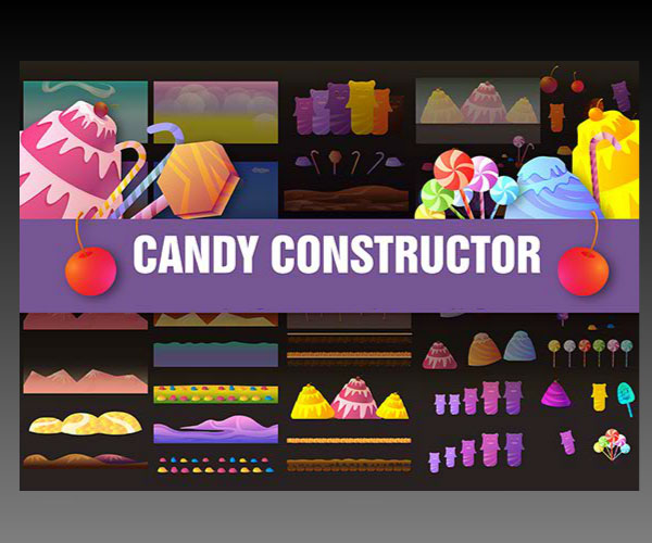 Candy game constructor set background art