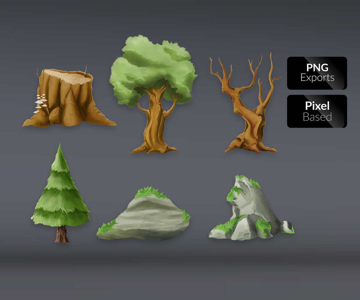 Extreem 2d Forest Element - Royalty Free Game Art ZV82