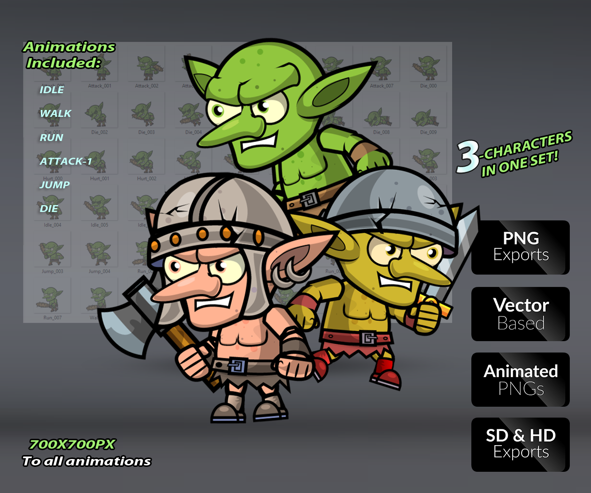 Goblin Enemies – Character Set - Game Art Partners